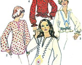 Womens Boho Top Pattern Simplicity 6777 Boho Split Neck Shaped Hem Tunic or Peplum Top Womens 1970s Vintage Sewing Pattern Bust 32 1/2