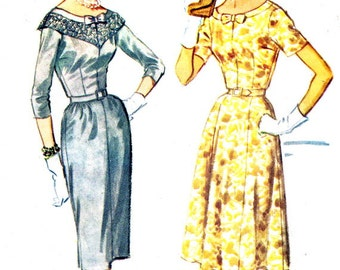 1960s Dress Pattern McCalls 5361 Sheath or Gored Skirt Day Evening Dress Lace or Bow Collar Womens Vintage Sewing Pattern Bust 38 Uncut