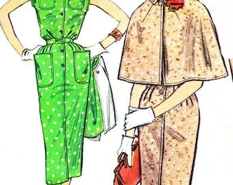 1950s Dress Pattern Cape Simplicity 1952 Front Button Sheath Dress Shirtdress Cape Womens Vintage Sewing Pattern Bust 36