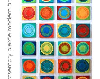 Painted Wood Wall Blocks | Custom Art Wall Sculpture | Abstract Geometric Art | 'Dancing Circles' | Rosemary Pierce Modern Art | sku#DC33007