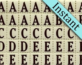 Black Alphabet Letter Labels 320 INSTANT DOWNLOAD - Printable Vintage Style Labels - Digital Alphabet Download Letter - Sticker Labels