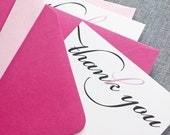 Pink Ribbon Breast Cancer Awareness Thank You Note Cards (Set of 10)