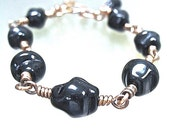 Black Nugget Bracelet Chunky Glass Beads Wire Wrapped Oxidized Copper Beaded Chain