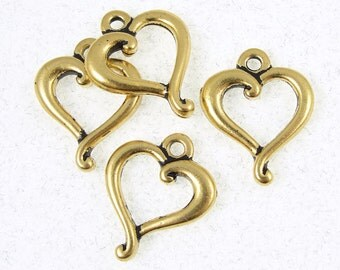 Antique Gold Charms Heart Charms Gold TierraCast Jubilee Heart Ring Charms 14mm x 17mm Valentines Charms Valentines Day Gold Pendants (P116)