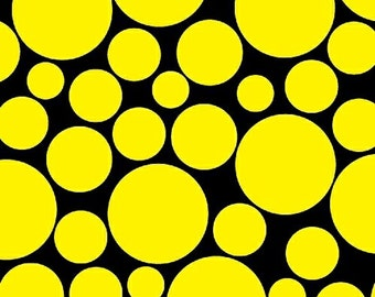 Polkadots Circles Yellow and Black Fabric 1 yard