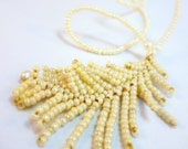 Downy White Feather & Pearl Necklace