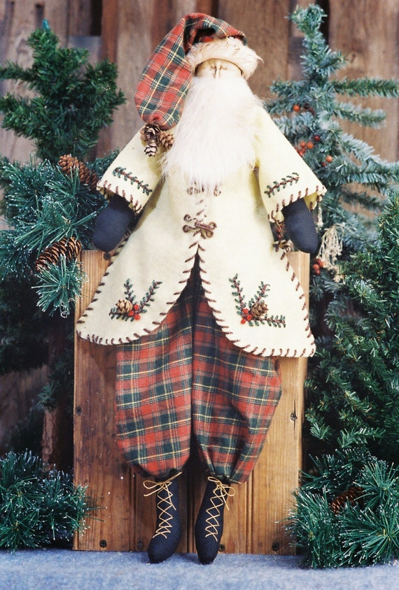 Cloth Doll E-Pattern - 24in Primitive Santa Epattern