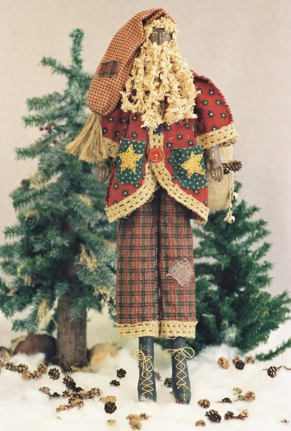 Cloth Doll E-Pattern  24in Black Primitive Folk Art Santa E-pattern