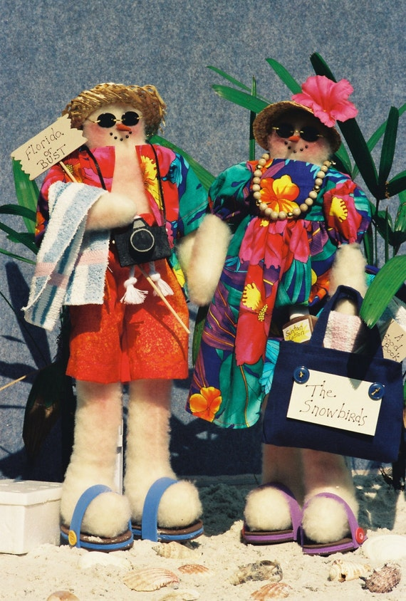 Cloth Doll E-Pattern Mr & Mrs Snowman Beach Tourists EPattern