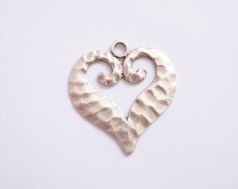 1 pc Matte  Silver Plated Base Heart  Pendant - Heart 60x60mm (416-002SP)