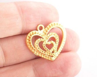 2 pcs Matte Gold Plated  Heart Charm-20x25mm-(002-010GP)