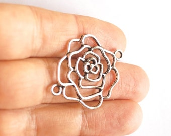 1 pc -Matte Silver plated Rose Connector-50x40mm-(401-008SP)