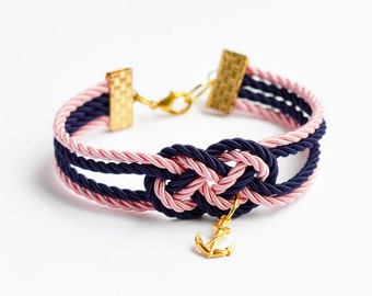 Navy blue and light pink double infinity knot nautical rope bracelet with gold anchor charm