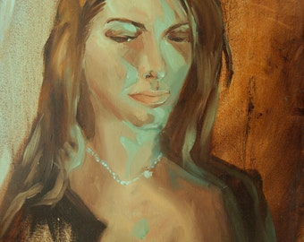 Portrait of Laurel with Blue-Green Lighting - ORIGINAL one of a kind Oil Painting, alla prima