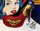 Wonder Woman| DC Comic | Superhero | Sparkly Comic Book Glitter Heels with Crystal Rhinestones