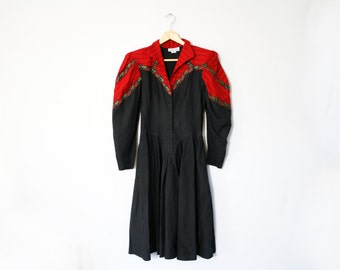 CLEARANCE vintage 80s Black and Red Western New Wave Red Rose Floral Trim Striped Ladies Dress