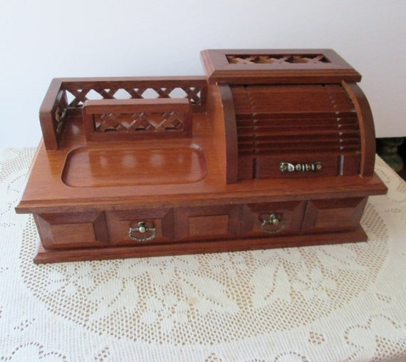 Wooden Dresser Valet Roll Top Jewelry Desk Tray Organizer