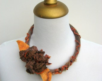 Felted  Rose Choker - Autumn Rust