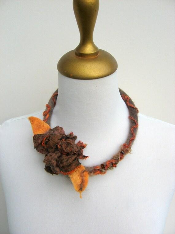 Felted  Rose Choker - Autumn Rust