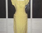 Vintage 1940s Bombshell Secretary Sheath Dress 40s Madmen Day Wiggle Dress