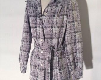 Vintage plaid jacket // with tie // women's // Stockton // polyester // hippie