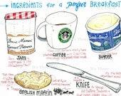 Home Decor -BREAKFAST - Print 5 x 7 of marker/pen&ink illustration -Kitchen art-foodie