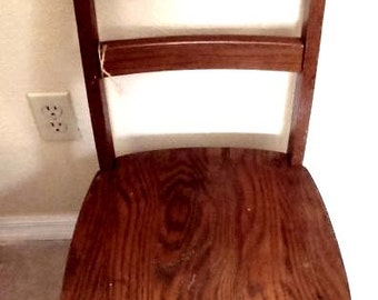 Vintage Solid Oak Child Size School Chair