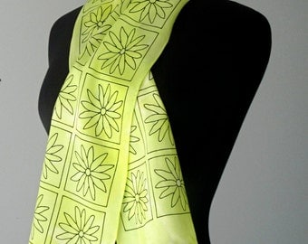 Neon in a Sea of Grey Hand Painted Silk Scarf price reduced