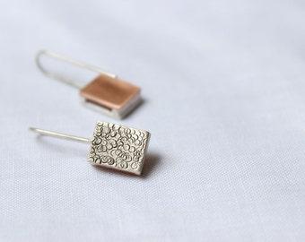 Little Earrings made of Sterling silver and copper, small rectangular earrings, dangling earrings