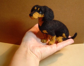 Custom needle felted Dog portrait Dachshund Doxie soft sculpture pet