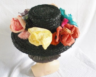 Clearance 1960's Vintage Evelyn Varon Big Wide Brim Hat with Paper Roses and Pom Poms