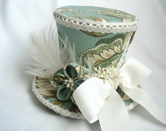 40% OFF! - Adaline - Mini Top Hat Fascinator Clip in Pale Blue, Olive Green, and Ivory