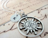 The Wanderer Compass Charm Necklace with a personalized hand stamped initial charm - nautical - travel - everyday jewelry