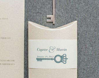 Champagne Gold and Ivory Vintage Skeleton Key Wedding Favor Box - Pillow Box - Caprice and Marvin