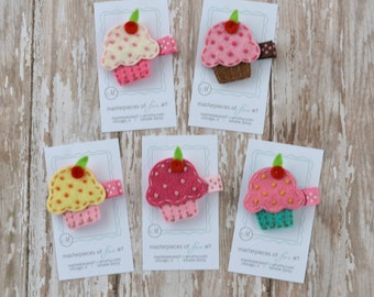 Felt Cupcake Hair Clip - You Pick 1 Clippie - Pink, Chocolate, White, Lemon or Turquoise - A cute birthday girl clip or birthday party favor