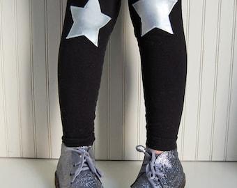 Silver Star Leggings. Girls Leggings. Cosplay leggings. Girls Star Leggings. Metallic Leggings. Toddler Leggings. Rock Star Leggings.