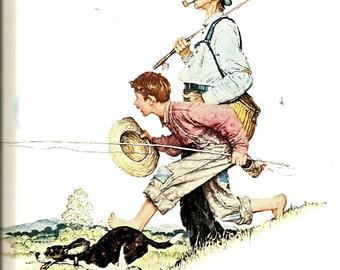 Norman Rockwell - Going Fishing - Grandpa and Me - Spring - Vintage Art Print - Rockwell Book Plate, Book Print - 4 Seasons Calendar - 1948