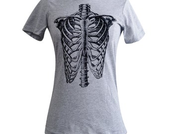 Ribcage Ladies T Shirt - Anatomical Skeleton T-Shirt (Available in sizes S, M, L, XL, 2XL)