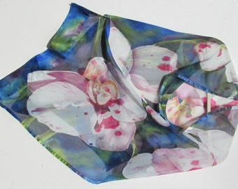 WHITE ORCHIDS Silk Wrap Hand Painted Exotic Tropical Floral Botannical Silk Shawl Silk Scarf by Silk Siren at SilkSiren.com Lynn Meek