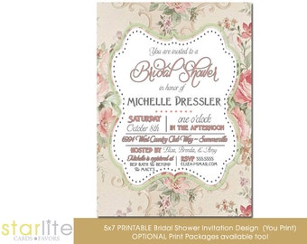 Bridal Shower Invitation Vintage Floral, Floral Bridal Shower Invitation, Printable Bridal Shower Invitation, Printed Bridal Shower Invite