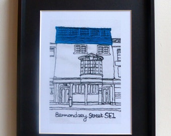 Bermondsey Street, London SE1, England. Quality print of original free-motion machine embroidery picture.
