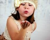 Girl's Crochet Hat, Beret, Boho, Bohemian, Ivory hat, Slouch hat, toddler hat, Spring, Easter, Winter, Sizes Newborn through Adult
