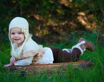 Girls sweater - infant sweater- Fall sweater -baby sweater - flower girl shawl - toddler sweater- white shrug - crochet shrug - Easter