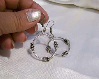Tecky Wire Wrapped Earrings 925 Sterling Silver Overlay Earrings Mosaic Charms JA10