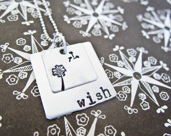 Hand Stamped Wish Necklace - Personalized Sterling Silver Jewelry - Two Stacked Square Discs With Dandelion