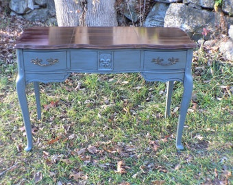Custom))  Queen anne Blue GREY mahogany french provincial style desk VANITY