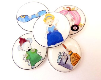"""5 Cinderella Buttons. Children's Fairy Tale Handmade Buttons. Sew on.  3/4"""" or 20 mm."""