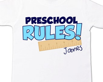 Back to school shirt - childrens preschool rules personalized back to school Tshirt