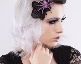 Molly Black Orchid Flower with Glitter Spider Fascinator – Available in Olive, Purple, Rose, Gold, Tangerine & Many More!