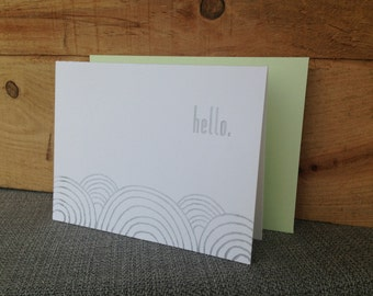 Hello Letterpress Greeting Card (Various Colors Available)